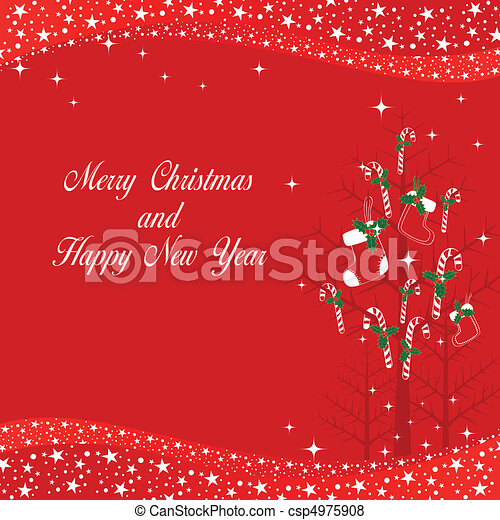 Christmas tree on starry background - csp4975908