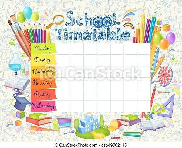 Template school timetable - csp49762115