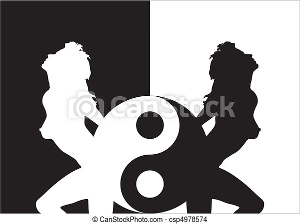 Woman Silhouette In Ying Yang - csp4978574