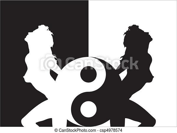 Woman Silhouette In Ying Yang - csp4978574