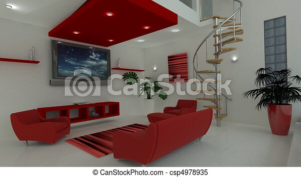 Contemporary interior living space - csp4978935