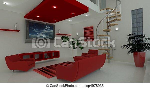 Contemporary interior living space - csp4978935