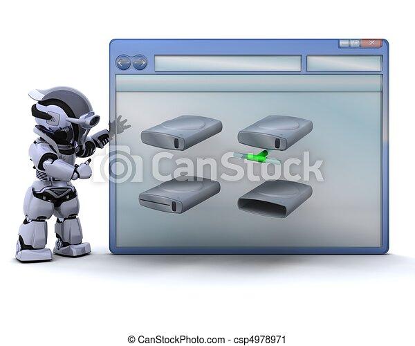 Illustration robot informatique fen tre conduire for Fenetre informatique