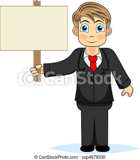 Cute boy businessman holding wood s - csp4979330
