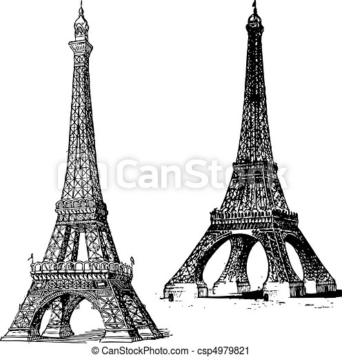 Vector Clip Art de vector, Eiffel, torre - Conjunto, vector ...