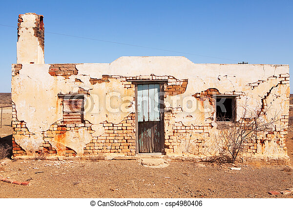 Old abandoned house in desert area - csp4980406