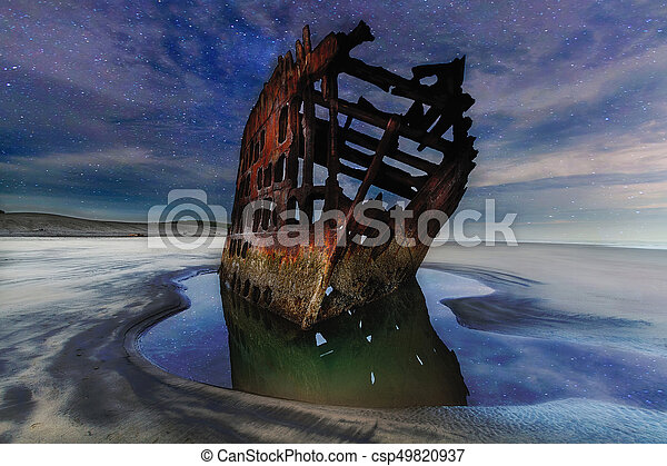 Peter Iredale Shipwreck Under Starry Night Sky - csp49820937