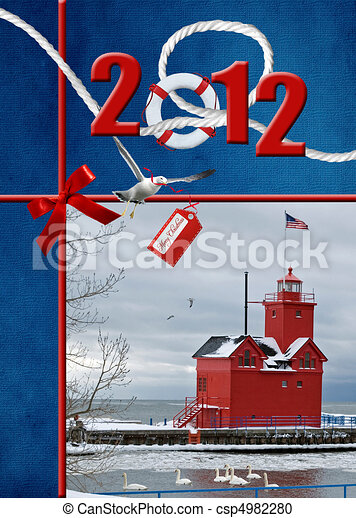 2012 Christmas Lighthouse - csp4982280