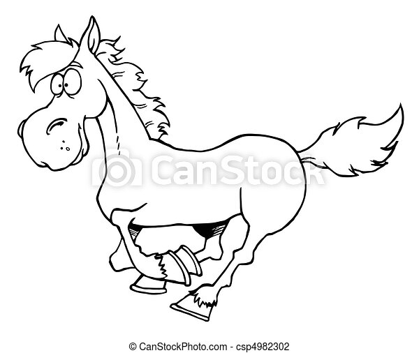 Outlined Cartoon Horse Running - csp4982302