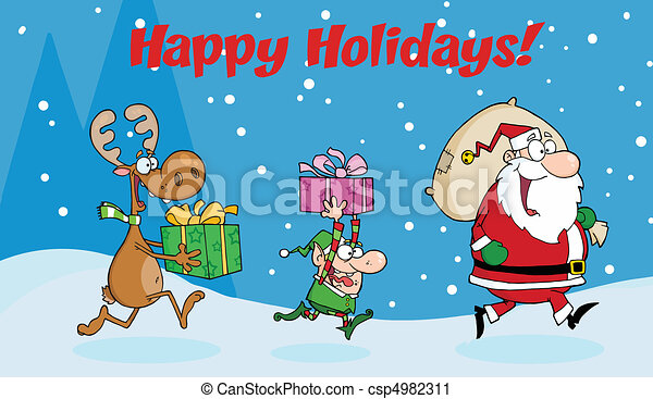 Santa Claus, Elf and Reindeer - csp4982311