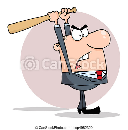 Angry Businessman With Bat - csp4982329