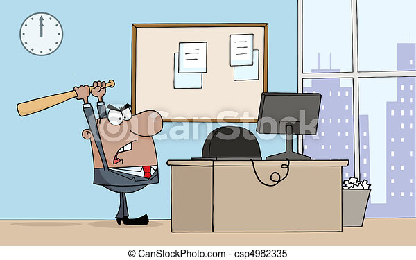 Businessman With Bat In Office  - csp4982335