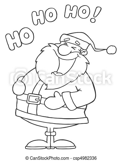 Outlined Laughing Santa Claus  - csp4982336