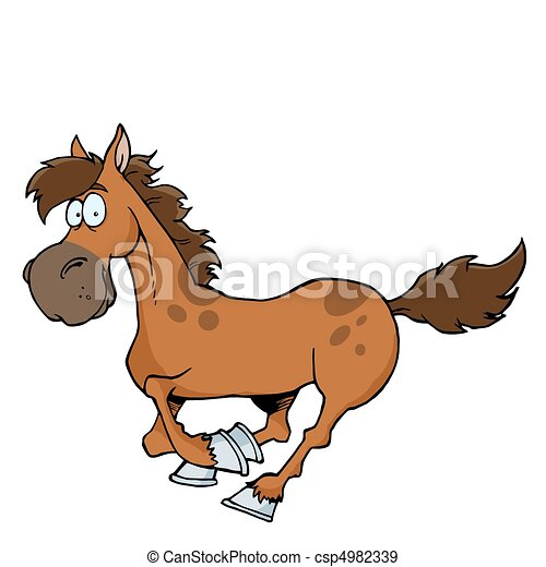 Cartoon Horse Running  - csp4982339