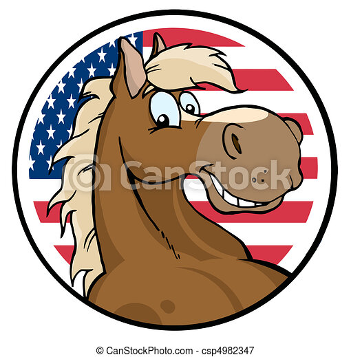 Horse Face Logo Horse Face Over an American