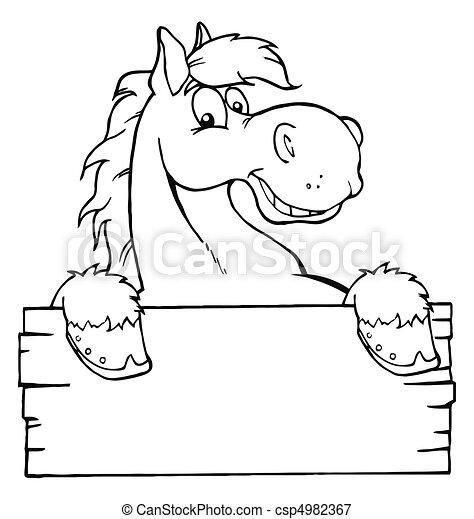 Horse With A Blank Sign  - csp4982367