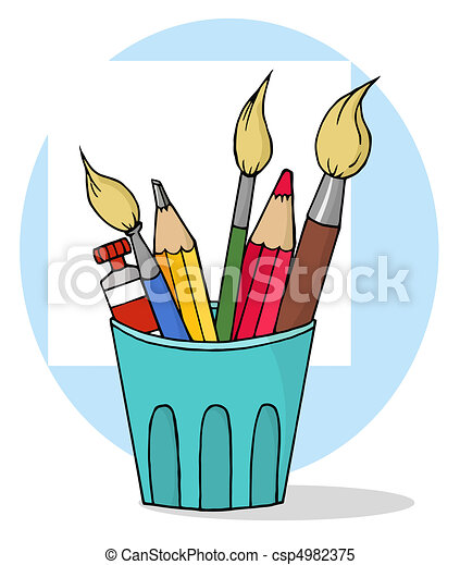 vecteur clipart de crayons pinceaux tasse artiste pot crayons et csp4982375. Black Bedroom Furniture Sets. Home Design Ideas
