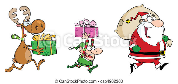 Santa with reindeer and elf - csp4982380