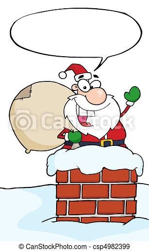 Santa In A Chimney And Waving  - csp4982399