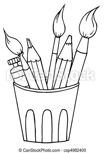 clipart vettoriali di matite pennelli tazza delineato