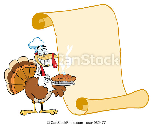 Turkey Chef With Pie And Scroll  - csp4982477