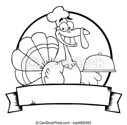 Outlined Turkey Chef Banner  - csp4982493