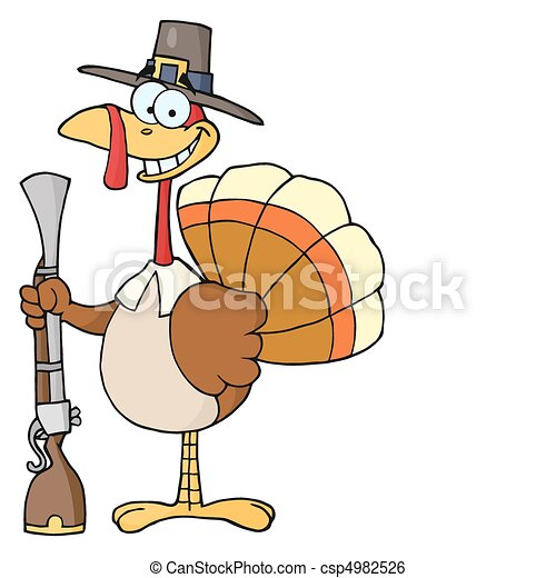 vector   turkey with pilgrim hat and musket   stock illustration