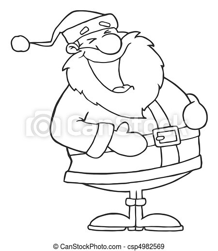 Outlined Laughs Santa  - csp4982569
