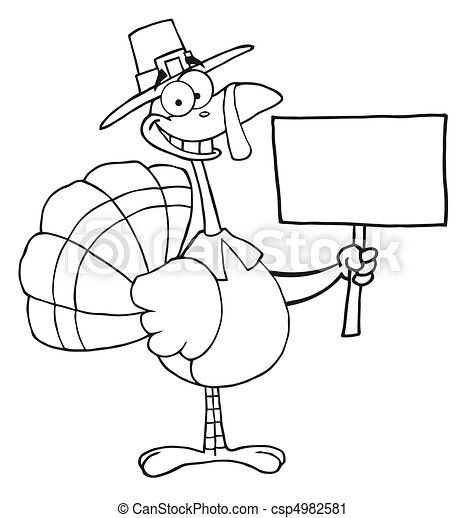 Turkey Bird Holding A Blank Sign  - csp4982581