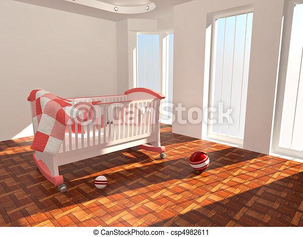 Children's bed in an empty room, lit by sunlight - csp4982611