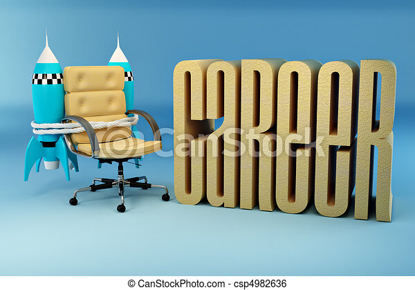 Career opportunities. Office armchair with rocket - csp4982636