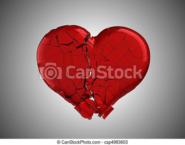 coração quebrado, pain., vermelho, magoado - csp4983603