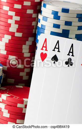 Stack of various casino chips - gambling concept - csp4984419