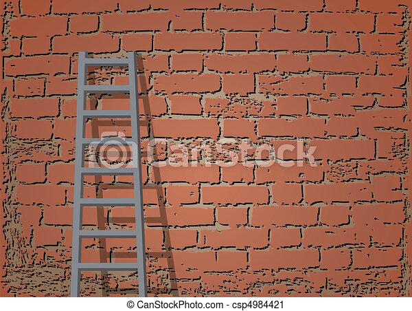 escalera, contra, ladrillo, pared, vector, Ilustración - csp4984421