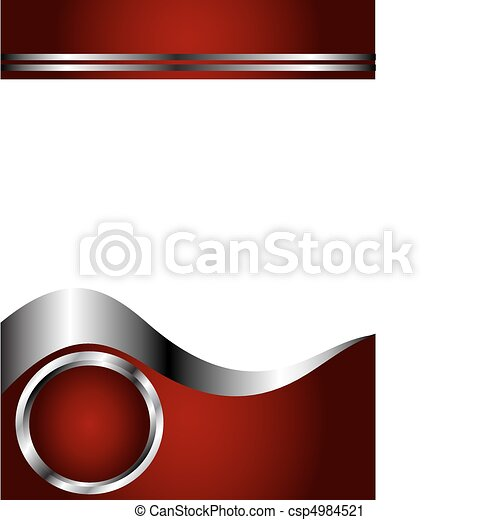 A deep red, Silver and white Business card Template - csp4984521