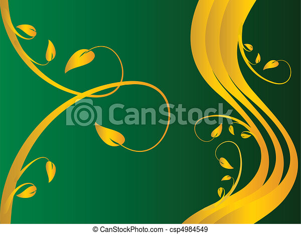 A green formal floral background  - csp4984549