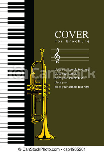 Cover for brochure with Piano and  - csp4985201