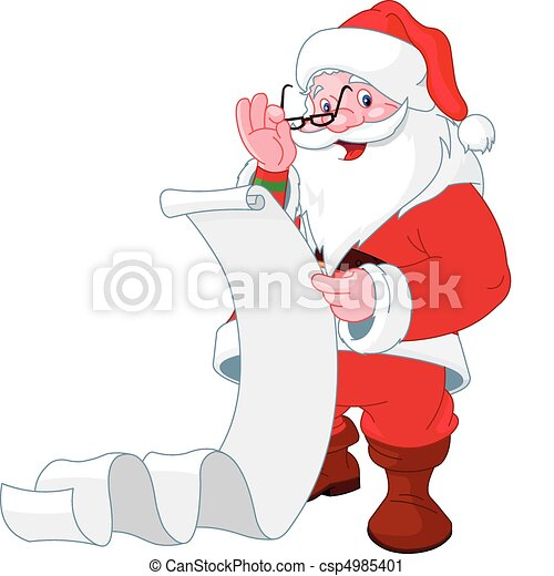 Santa Claus reading list of gifts - csp4985401