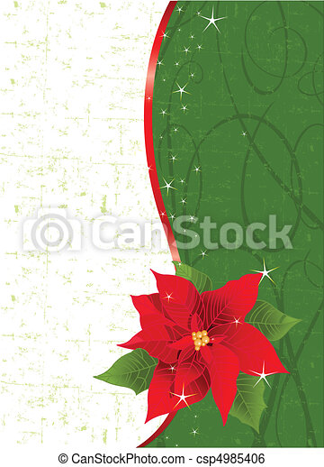 Red poinsettia vertical Christmas  - csp4985406