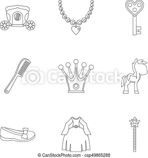Princess fairy tail icon set, outline style - csp49865288
