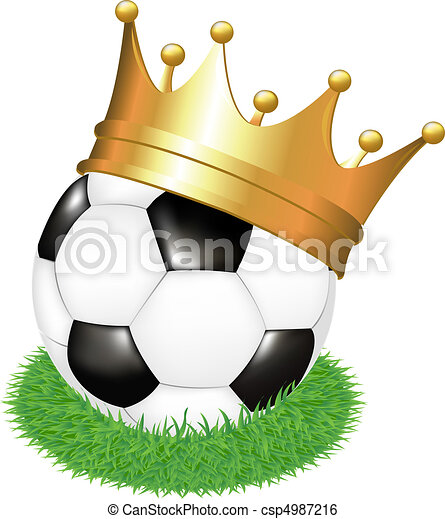 Soccer Ball On Grass With Crown - csp4987216