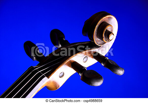 Violin Viola Scroll Isolated on Blue - csp4988659