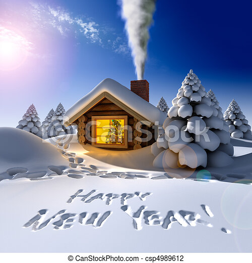 A small cottage in the fairy forest in snowy New Year's Eve. Around the hut on the snow trails and an inscription - a Happy New Year! - csp4989612