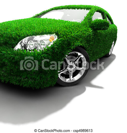 The metaphor of the green eco-friendly car - csp4989613