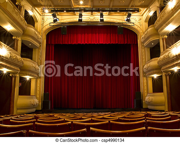 old theater stage and red curtain - csp4990134
