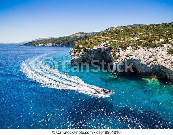 Aerial  view of  Agios Nikolaos blue caves  in Zakynthos (Zante) island, in Greece - csp49901810