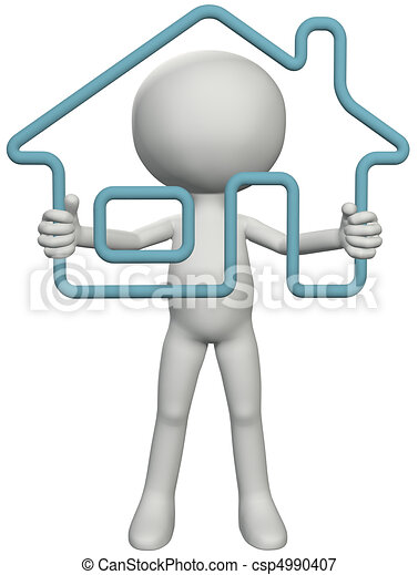 Home owner person holding up 3D outline house - csp4990407