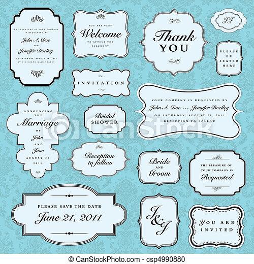 藍色, 框架, 矢量, 集合, 婚禮 - csp4990880