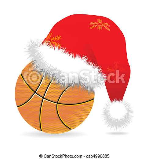 Santa cap over basketball - csp4990885
