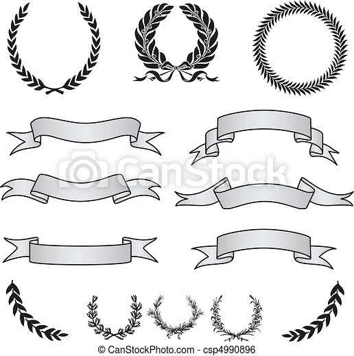 Vector Wreaths and Banner Set - csp4990896